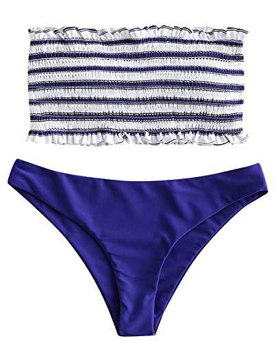 ZAFUL Women's Striped Smocked Bandeau Top Two Piece Bikini Set Strapless Shirred Swimsuits Swimwear (Blue, L)