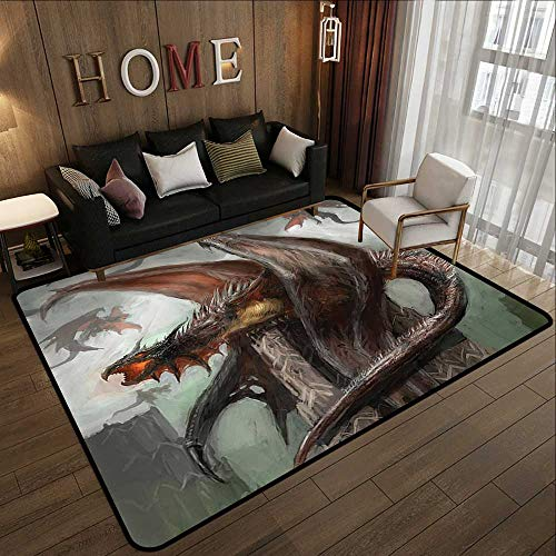 (Bath Rugs for Bathroom,Fantasy World Decor Collection,Dragons in Battle at War Fire Spewing Reptilian Serpent Beast Animal Monster Theme,Brown 63