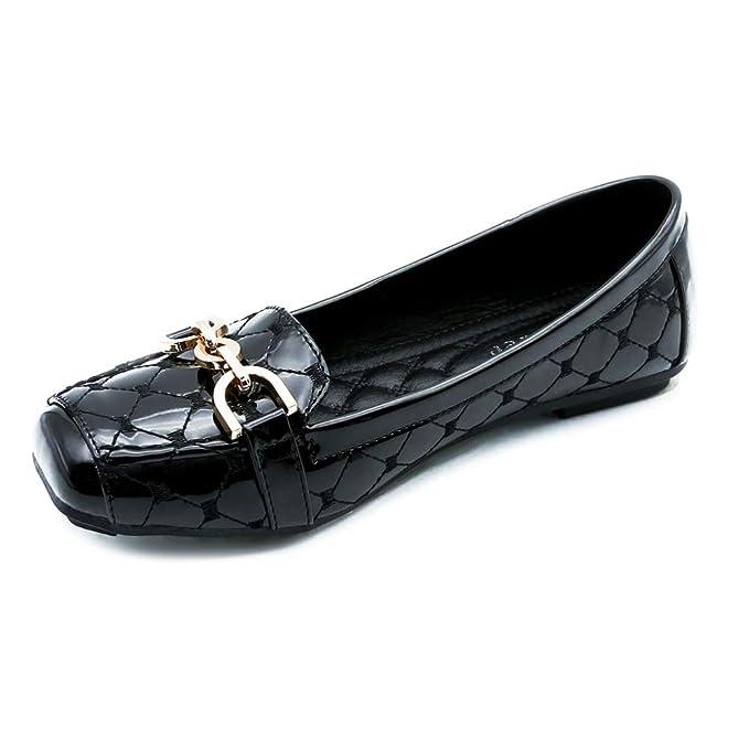 Zapatos Planos Zapatos De Trabajo Para Mujer Hebilla De Metal Mocasines De Oficina Cómodos Zapatos Perezosos Zapatos Para Barcos Zapatillas De Ballet: ...