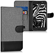 kwmobile Wallet case canvas cover for Alcatel A3 - Flip case with card slot and stand in grey black