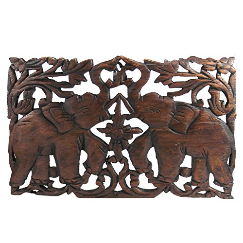 Jubilant Thai Elephant Duo Hand Carved Teak Wood Wall Art Relief Panel - Fair Trade Handicraft by Thai Artisans (Carved Panel Decor Wood Wall)