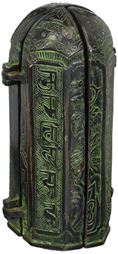 Aapno Craft Ancient Shrine Buddha Statue Brass Abhaya/Blessing Buddha Sculpture with Folder Door Embossed Dragon Collectible Buddhist Decor by AapnoCraft (Image #1)