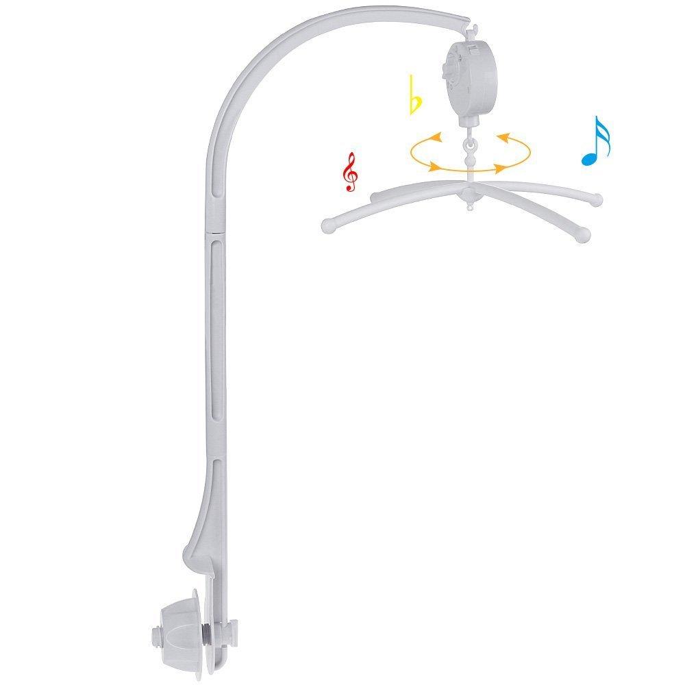 JZK Cuna movil cama campana soporte para cuna móvil con música brahms lullaby levantar la caja musical + soporte móvil para bebé + cuna móvil soporte brazo