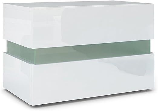 Vladon Table De Chevet Flow Corps En Blanc Haute Brillancefaçades En Blanc Laquées Haute Brillance