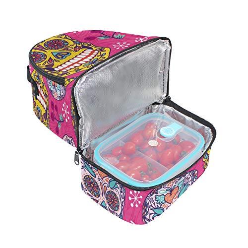 Boîte à Tote l'école pour Sac avec à Motif Cooler réglable floral Sucre de bandoulière Pincnic Tête Alinlo mort lunch isotherme fw40YHq