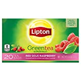 Lipton Green Tea, Red Goji Raspberry 20 count Per Pack (Pack of 6)