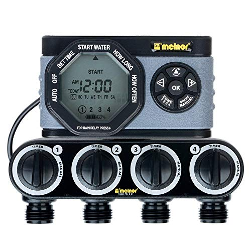 Melnor 53280 4-Outlet Digital Water Timer Simple and Flexible Programming, 4 Zone, 4 Zone (Renewed)