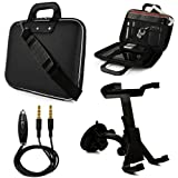 SumacLife Cady Messenger Bag Case for DigiLand DL1010Q 10.1-inch Tablet + Windshield Mount + Auxiliary Cable (Black)