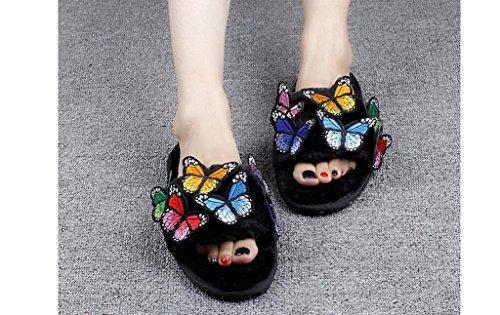 Beauqueen Hiver coloré de broderie de papillons peluche enfants de la famille pantoufles , 44