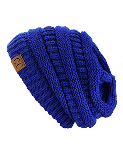 Sox Market Warm Cable Knit Slouchy Trendy Chunky Soft Stretch Skully Beanie Hat (Royal Blue)