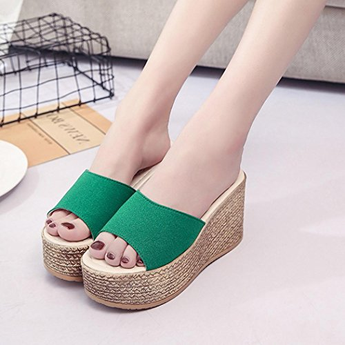 Bottom Women Thick Fashion Platforms Sandals Peep Green Sandals Flatform Amiley Shoes Women Wedges Slipper Solid Summer Toe dFPYpqv