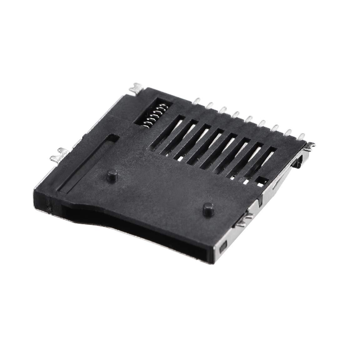 Card Socket Holder SMT SMD Push Type 9 Pin 5pcs uxcell Micro SD TF