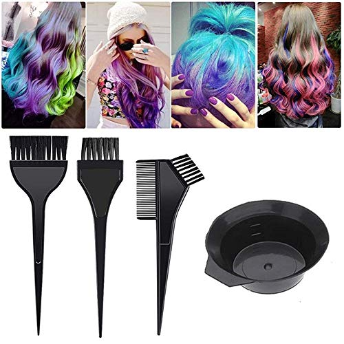 20 Pieces Hair Dye Coloring Kit Include Hair Tinting Bowl Hair Dye Brush Hair Highlighting Board Ear Cover Gloves Clips Disposable Hair Coloring Cape Shower Cap for DIY Salon Home