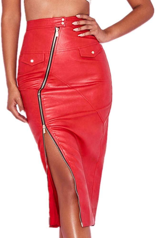 AndyJerzy Falda Midi de Mujer Mujeres de Cintura Alta Pintura de Cuero con Cremallera lápiz Delgado Delgado Corto Sexy Mini Falda Falda de Las señoras (Size : L)