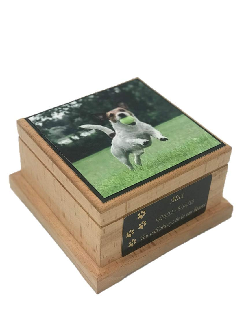 Memorial Pet Urn, Wooden Dog Cremation Urn, Dog Photo Urn with Custom Engraving by NWA