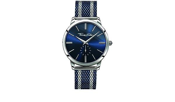 128d4f2ac0c Amazon.com  Thomas Sabo Mens Rebel Spirit Two Tone Steel Mesh Strap Blue  Dial WA0268-281-209-42  Watches