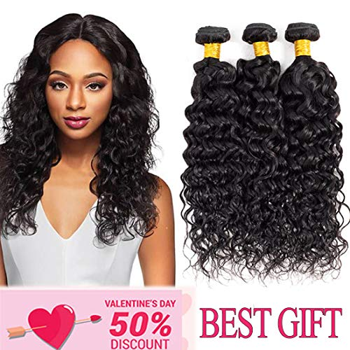 8A Water Hair Bundles 10 12 14 inch Brazilian Water wave Human Hair 3 Bundles Water Wave Hair Extension Curly Wave Bundles 1B# color ()