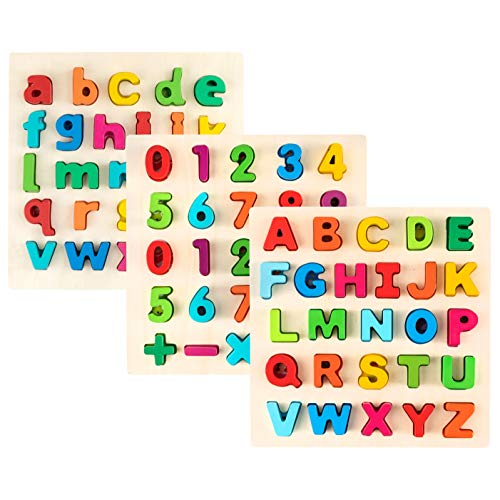 Toy To Enjoy Alphabet Puzzles - Wooden Upper Case, Lower Case Letters and Number Learning Board Toy - Ideal for Early Educational Learning for Kindergarten Toddlers & ()