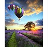 Paint by Number Kit,Diy Oil Painting Drawing Lavender Garden Balloon Canvas with Brushes Decor Decorations Gifts - 16x20 inch Frameless