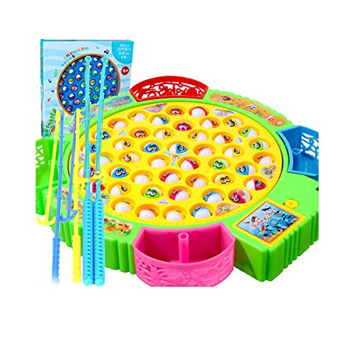 Huluwa Fishing Game Fishing Educational Games with Music & Autorotation for Toddlers Children, 45 Fishes
