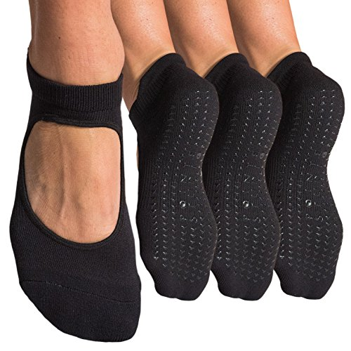 Pointe Studio Women's Grip Strap Socks for Yoga, Barre, Pilates, Dance - M/L (3 Pairs All Black)