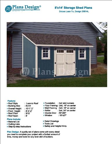 8 X 14 Deluxe Back Yard Storage Shed Project Plans Lean