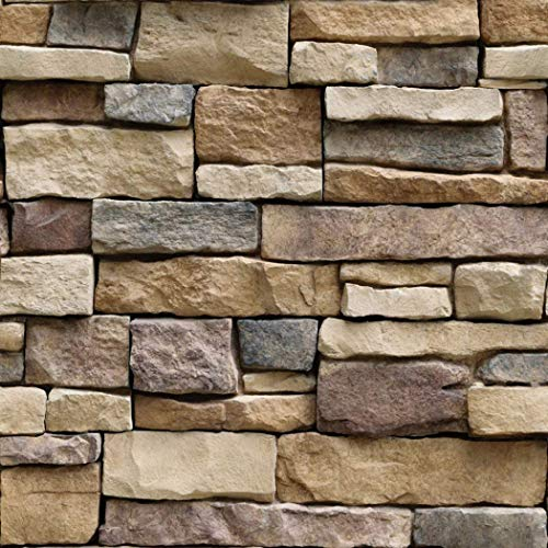 Faux Vintage 3D Brick Stone Contact Paper Self Adhesive Vinyl Peel and Stick Wallpaper Mural for Wall Bathroom Kitchen Backsplash 17.7 Inches by 16 Feet