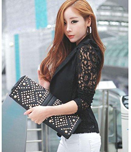 Dentelle Blazer 1PC Femme Blazer Veste Femme Longues Taille Petite Noir En Sexy Crochet Manteau Grande Manches Koly wvEHp7