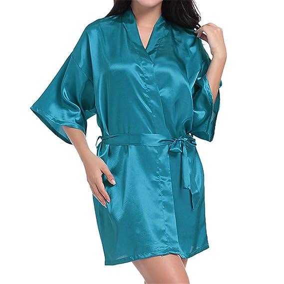 Vestido Pijama Mujer Kimono Corto Bata de Satén Lencería Kimono Satén Bata Albornoz Camisón: Amazon.es: Ropa y accesorios