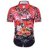 Jushye Hot Sale!!! Men s Shirts, Summer Casual Hawaiian Shirts Print T-Shirt Sports Short Sleeve Tees Blouse Tops (Red, S)