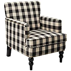 Farmhouse Accent Chairs Christopher Knight Home Evete Tufted Fabric Club Chair, Black Checkerboard farmhouse accent chairs