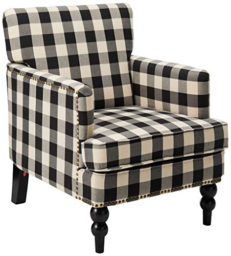 Christopher Knight Home 305559 Evete Tufted Fabric Club Chair, Black Checkerboard