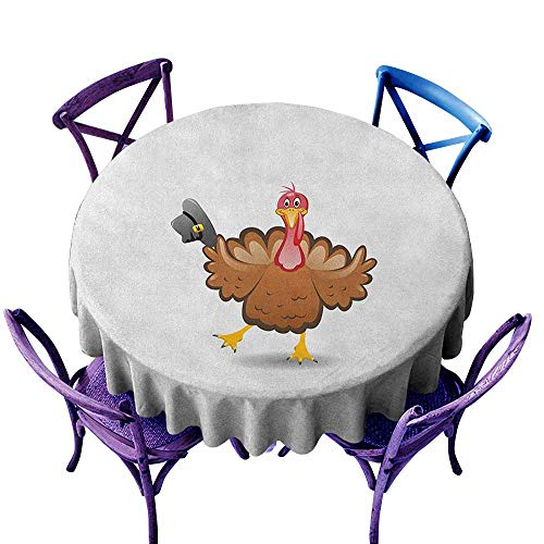 ONECUTE Resistant Table Cover,Turkey Dancing Cartoon Animal with Pilgrims Hat Thanksgiving Dinner with a Funny Character,Stain Resistant, Washable,47 INCH Multicolor