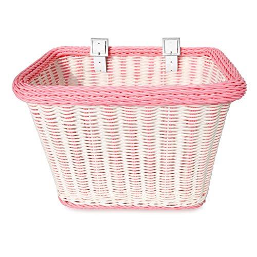 Colorbasket 00689 Adult Front Handlebar Rectangle Bike Basket, White with...
