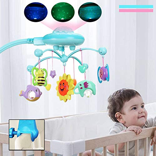 Baby Bed Mobile Musical Cot Crib Rotary Music Box Kid Star Light Projection Toy - Cot Mobile