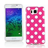 Kit Me Out CAN TPU Gel Case for Samsung Galaxy Alpha G850F - Pink / White Polka Dots