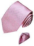 LORENZO CANA Italian Silk Business Style Tie Hanky Set Pink White Plaid 7714301