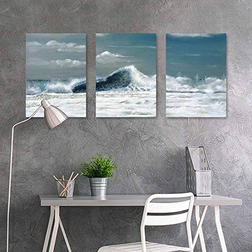 (BDDLS Original Oil Painting,White Sailboat in The sea for Living Room,Dinning Room, Bedroom 3 Panels,16x24inchx3pcs a lot Painting (6))