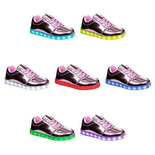 Bloeding Heart Dames Shiny Led Sole Trainers (roze)