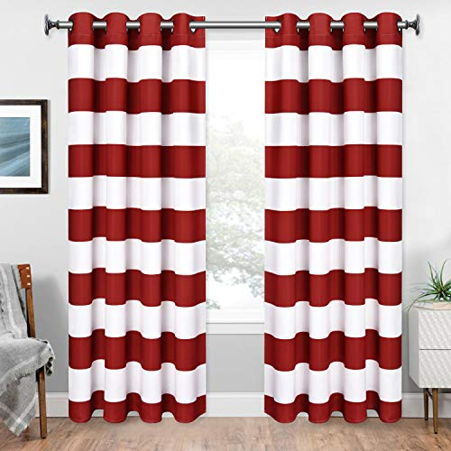Yastouay Stripe Window Curtain Striped Room Darkening Grommet Curtains 52 × 63 Inches Stripes Drapes for Bedroom Living Room, Red, Set of 2 Panels (Stripe Red Window Curtain)