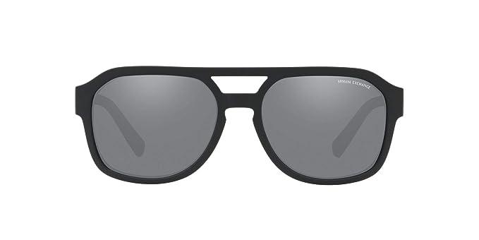 e6b9df03f0ab Armani Exchange Men's Plastic Man Sunglass Non-Polarized Iridium  Rectangular, MATTE BLACK, 57