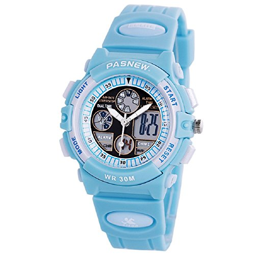 PASNEW Boys Girls Waterproof Sport Digital Watch Dual Time Display - Azure
