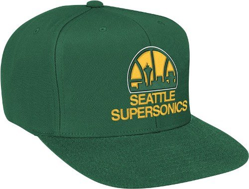 Seattle Supersonics Mitchell & Ness Vintage Basic Logo Green Snap Back Hat