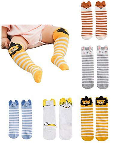 Funny 1 Year Old Halloween Costumes - YallFairy Unisex Baby Socks Newborn Toddler Knee High Tube Socks Animal Stockings (0-1 year)