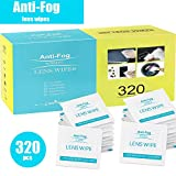 Anti-Fog Lens Cleaning Wipes, 320 Individually Wrapped Wipes, Pre-moistened Glass Cleaners Disposable Screen Wipes for Glasses, Smartphones, Cameras, Tablets