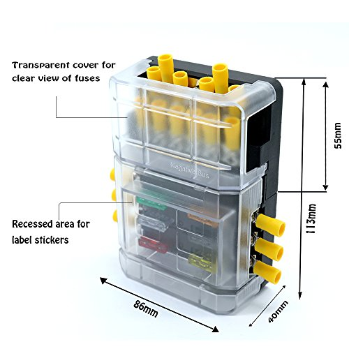 Blade Fuse Block Box Holder 6 Circuits ATP and Negative Bus Bar With LED Indicator for Blown Fuse Suitable For Automotive Marine Boats with 5A/10A/15A/20A /25A/30A Weiruixin by weiruixin (Image #3)