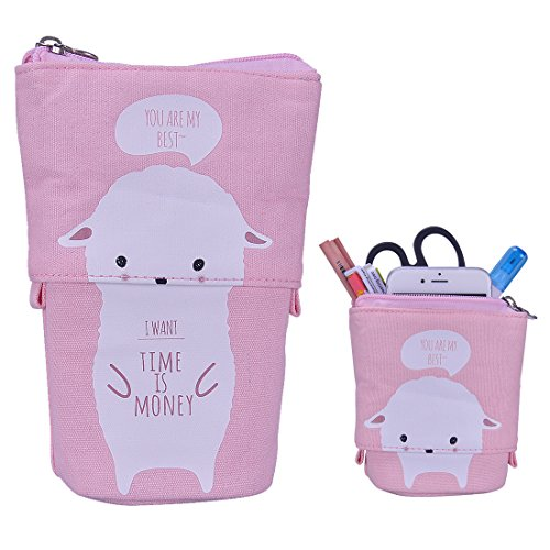 (iSuperb Cartoon Telescopic Stand Up Pencil Case Pen Bag Cute Animal Office Student Stationery Bag Cosmetic Organizer Pouch (White Sheep))