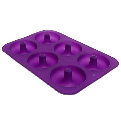Huafi 6-Cavity - Molde de Silicona con Forma de Donut para Tartas (Antiadherente