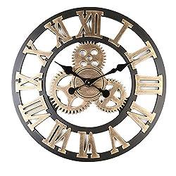 Large Retro European Wooden Home Gear Clock Roman Digital Scale Precision | Wall Decorative Creative Living Room Kitchen Bedroom | 5AA battery Diameter 45CM Black (L, Gold)