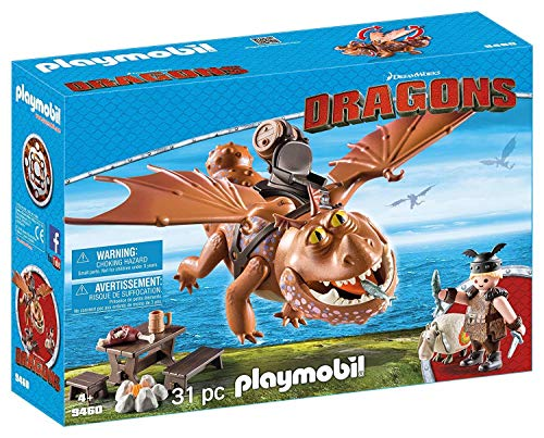 Playmobil 9460 How to Train Your Dragon Fishlegs + Meatlug, Multicolor